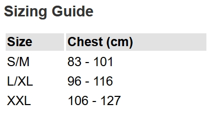 NRS Buoyancy Aid Size Chart