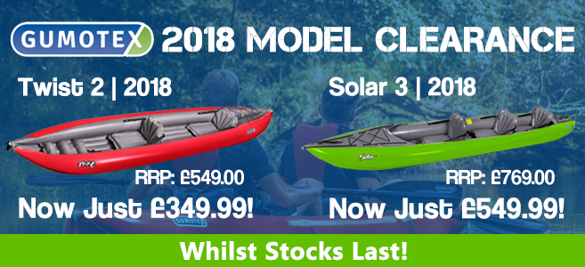 2018 Gumotex Clearance Models available from Inflatable Kayaks UK